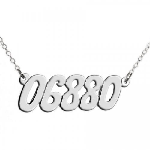 Personalized Zip Code Necklace  Apparel & Accessories > Jewelry > Necklaces