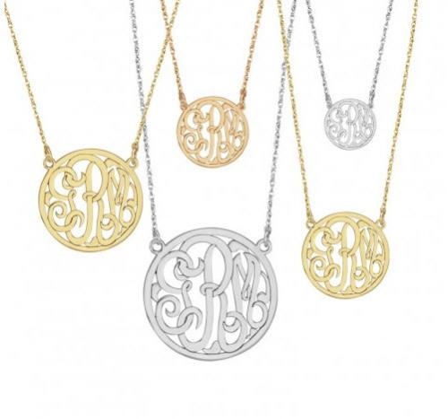 Monogrammed Border Necklace in Three Letter Script Font  Apparel & Accessories > Jewelry > Necklaces