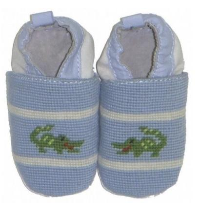 By Paige Needlepoint Blue Gator Baby Booties  Apparel & Accessories > Shoes > Baby & Toddler Shoes