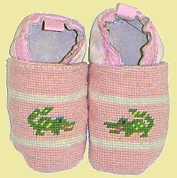 Needlepoint Children- Pink Gator Booties
