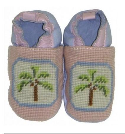By Paige Needlepoint Pink Palm Tree Baby Booties  Apparel & Accessories > Clothing > Baby & Toddler Clothing