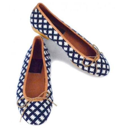 By Paige Ladies Needlepoint Navy and White Check Ballet Flats   Apparel & Accessories > Shoes > Flats