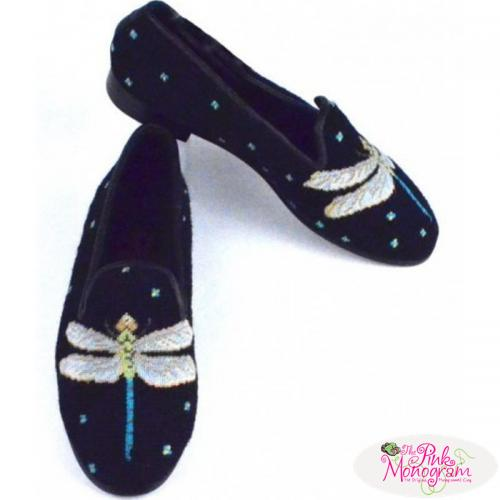 By Paige Ladies Dragonfly Black Needlepoint Loafers   Apparel & Accessories > Shoes > Loafers