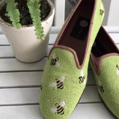 By Paige Ladies Bumblebees on Green Needlepoint Loafers  Apparel & Accessories > Shoes > Loafers