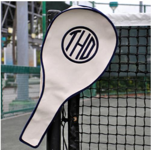 Queen Bea Monogrammed Tennis Racket Cover  Sporting Goods > Racquet Sports > Tennis > Tennis Racket Accessories > Tennis Racket Bags