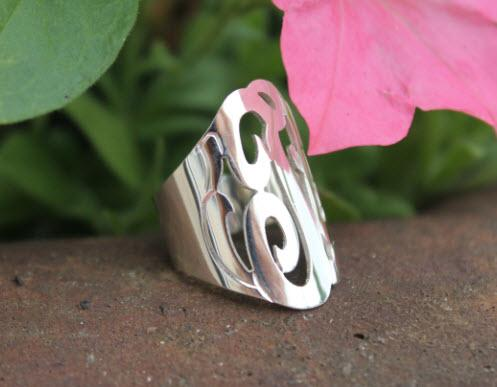 Large Oval Sterling Silver Cut Out Initial Boyfriend Ring  Apparel & Accessories > Jewelry > Rings
