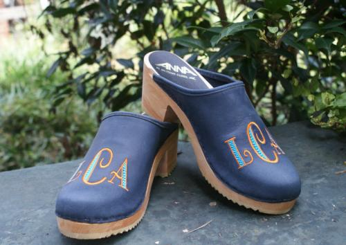 Monogrammed Denim Leather  Clog with Deco Font Monogrammed Denim Leather on High Heel