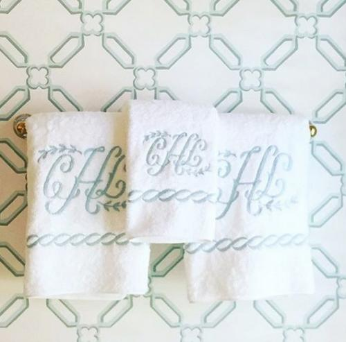 Matouk Classic Chain Monogramed Towels and Bath Sets  Home & Garden > Linens & Bedding > Towels > Bath Towels & Washcloths