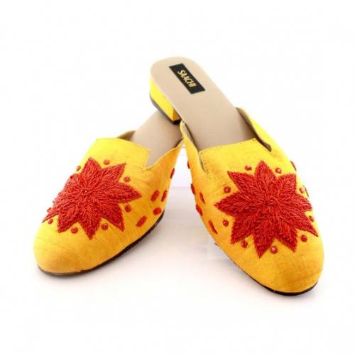 Saachi Golden Yellow Silk Slides  Apparel & Accessories > Shoes > Clogs & Mules