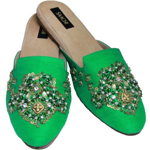 Ladies Silk Slide Mules With Hand Embroidery  Apparel & Accessories > Shoes > Clogs & Mules
