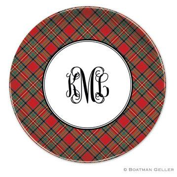 Boatman Geller Personalized Melamine Plate with Plaid Red Pattern  Home & Garden > Kitchen & Dining > Tableware > Dinnerware > Plates