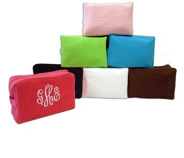 Monogrammed Waffle Weave Makeup Bag  Luggage & Bags > Toiletry Bags