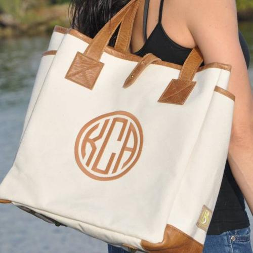 Queen Bea Monogrammed Canvas Lorie Tote  Apparel & Accessories > Handbags > Tote Handbags