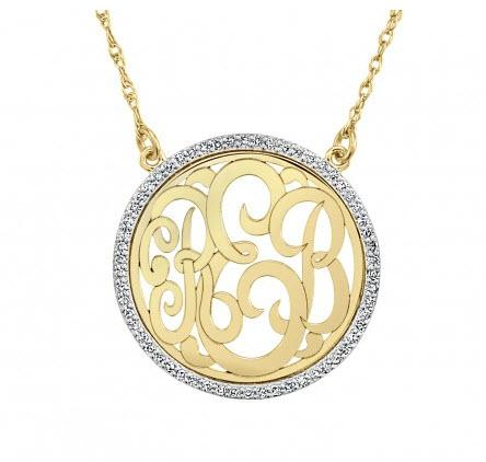 Monogrammed 2 or 3 Letter Necklace with CZ Border  Apparel & Accessories > Jewelry > Necklaces