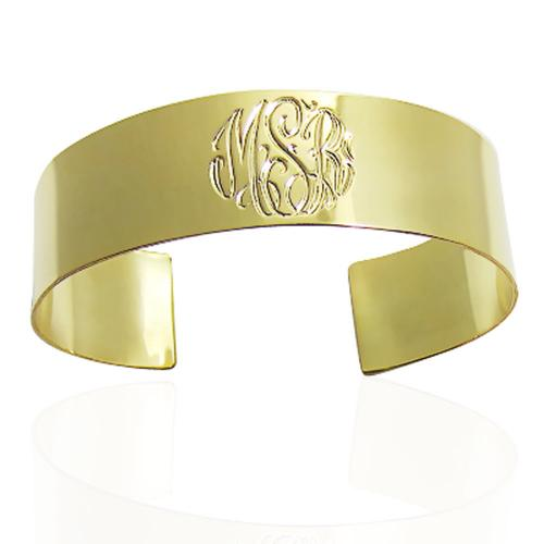 Hand Engraved Monogrammed Cuff from The Pink Monogram  Apparel & Accessories > Jewelry > Bracelets
