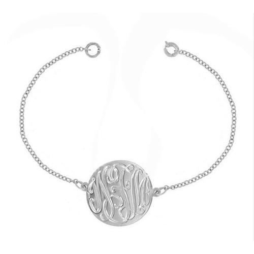Hand Engraved Disc Bracelet on Chain from The Pink Monogram  Apparel & Accessories > Jewelry > Bracelets