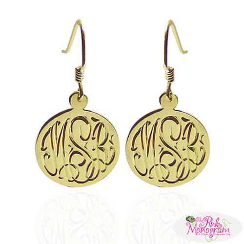 Hand Engraved Monogrammed Earrings on French Wire  Apparel & Accessories > Jewelry > Earrings