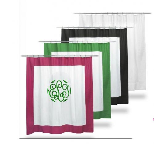 Monogrammed Border Shower Curtain Fom The PInk Monogram