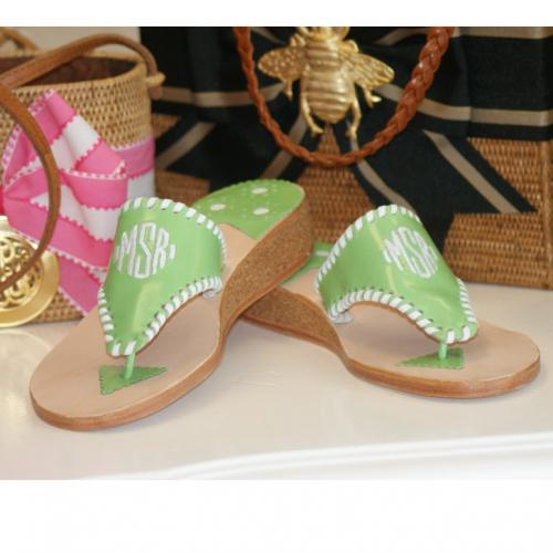 Monogrammed Palm Beach Sandal in a 1 inch cork wedge  Apparel & Accessories > Shoes > Sandals > Thongs & Flip-Flops