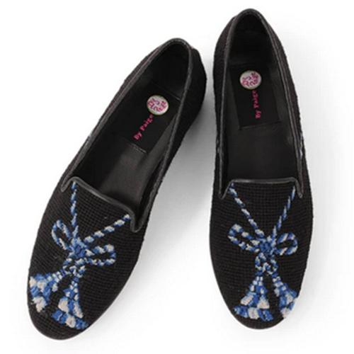 By Paige Ladies Blue Tassel on Black Needlepoint Loafers   Apparel & Accessories > Shoes > Loafers