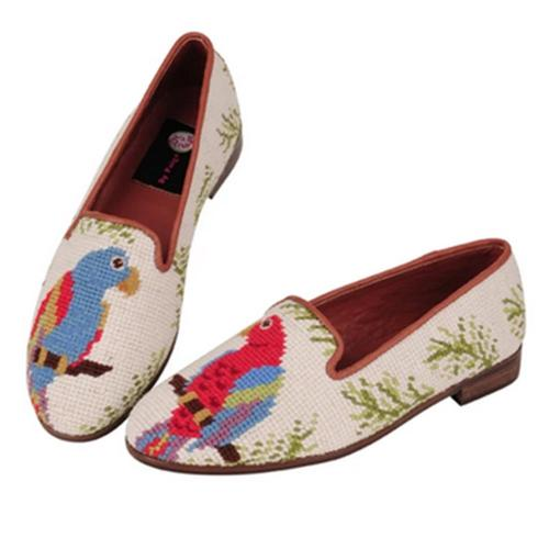 By Paige Woman's Red and Blue Parrot Needlepoint Loafers  Apparel & Accessories > Shoes > Loafers