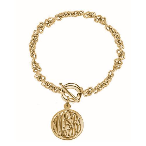 Monogrammed Toggle Bracelet With Hand Engraved Disc   Apparel & Accessories > Jewelry > Bracelets