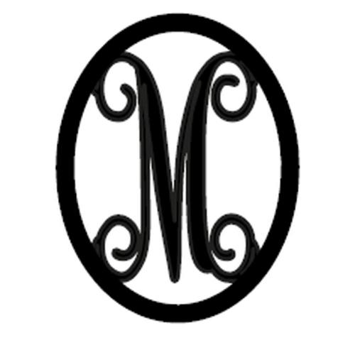 single initial metal door monogram with oval frame 22 u0026