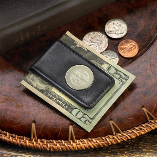 Monogrammed Money Clip Leather and Magnetic   Apparel & Accessories > Clothing Accessories > Wallets & Money Clips