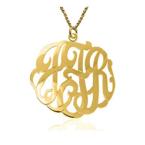 Monogrammed Script Solid 10 kt. Gold Pendent on Chain  Apparel & Accessories > Jewelry > Necklaces