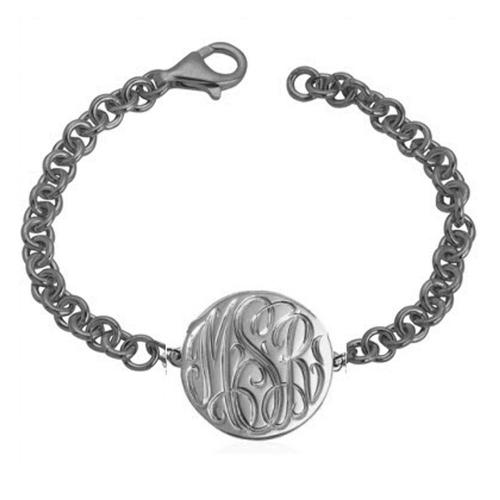 Monogrammed Bracelet with Engraved Disc   Apparel & Accessories > Jewelry > Bracelets