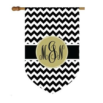 Chevron Print House Flag with Circle Monogram  Home & Garden > Decor > Flags & Windsocks
