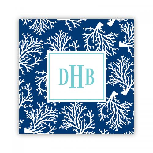 Personalized Coaster Coral Repeat Navy  Home & Garden > Kitchen & Dining > Barware > Coasters