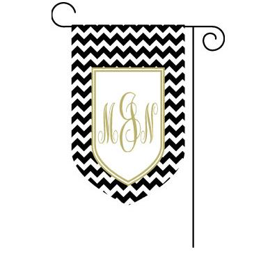 Garden flag with Chevron Print and Shield Monogram  Home & Garden > Decor > Flags & Windsocks