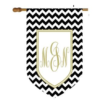 Chevron Print House Flag with Shield Monogram  Home & Garden > Decor > Flags & Windsocks