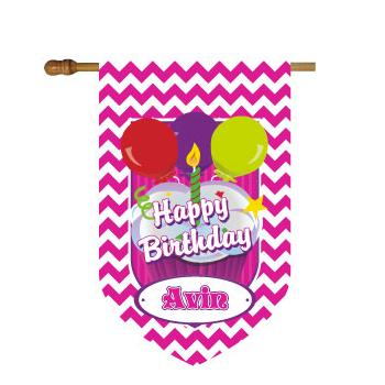Monogrammed Birthday House Flag in Hot Pink Chevron Print Chevron Birthday House Flag in Hot Pink Home & Garden > Decor > Flags & Windsocks