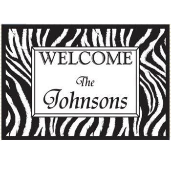 Personalized Welcome Door Mat with Zebra Print Personalized Door Mat Zebra Print Home & Garden > Decor > Door Mats