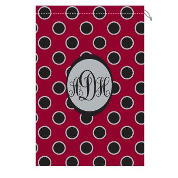 Monogrammed gamecock Laundry bag with garnet and black polka dots Laundry Bag Garnet and Black Polka Dots Home & Garden > Household Supplies > Laundry Supplies > Washing Bags & Baskets