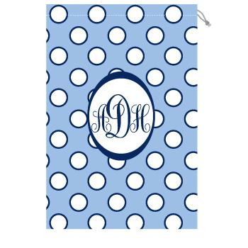 Monogrammed laundry bag with light blue and white polka dots  Laundry Bag Blue and White Polka Dot Home & Garden > Household Supplies > Laundry Supplies > Washing Bags & Baskets