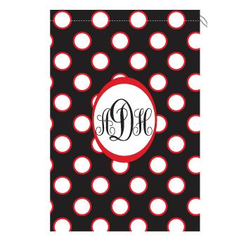 Monogram Laundry Bag with Georgia Black White and Red Polka Dots Laundry Bag black and red polka dots Home & Garden > Household Supplies > Laundry Supplies > Washing Bags & Baskets
