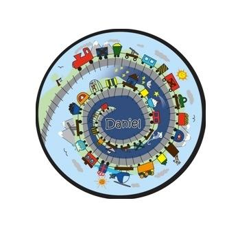 Childs Round Personalized Needlepoint Rug with Train Childs Rug Train Home & Garden > Decor > Rugs