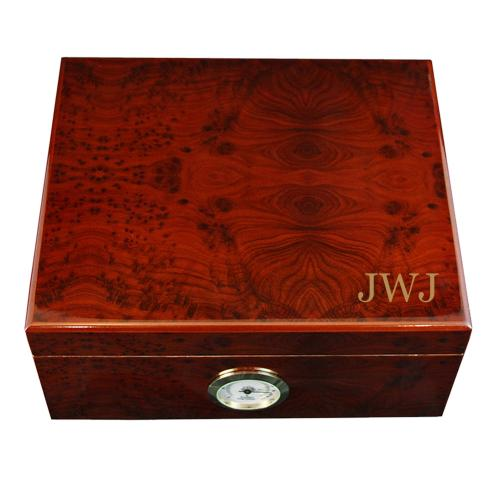 Monogrammed Rosewood Burl Humidor  Home & Garden > Smoking Accessories