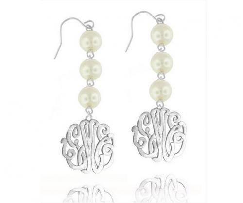 Monogrammed Earrings With Drop Pearls   Apparel & Accessories > Jewelry > Earrings