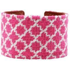 Pink and White Quatrefoil Needlepoint Cuff Pink and white Quatrefoil Cuff Apparel & Accessories > Jewelry > Bracelets