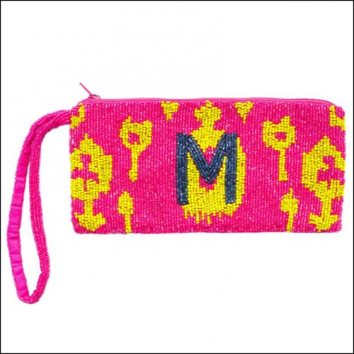 Ikat Pattern Beaded Monogram Wristlet  Apparel & Accessories > Handbags > Wristlets