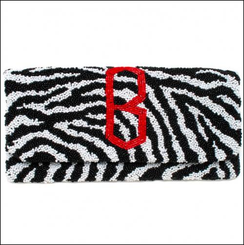 Monogrammed Beaded Zebra Clutch Bag with Diamond Font  Apparel & Accessories > Handbags