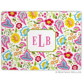 Bright Floral Monogrammed Glass Cutting Board  Home & Garden > Kitchen & Dining > Kitchen Tools & Utensils > Cutting Boards