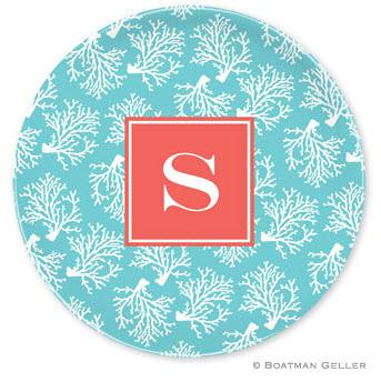 Boatman Geller Personalize Melamine Plate with Coral Repeat Teal Pattern  Home & Garden > Kitchen & Dining > Tableware > Dinnerware > Plates
