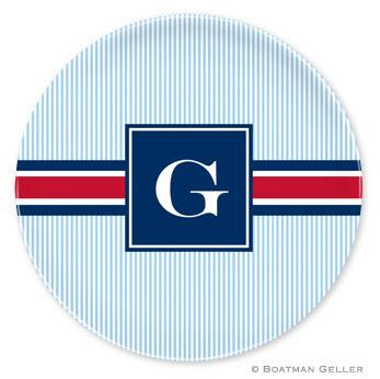 Boatman Geller Personalized Melamine Plate with  Seersucker Band Red & Navy Pattern  Home & Garden > Kitchen & Dining > Tableware > Dinnerware > Plates
