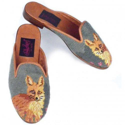 By Paige Ladies Needlepoint Fox Green Mules   Apparel & Accessories > Shoes > Clogs & Mules