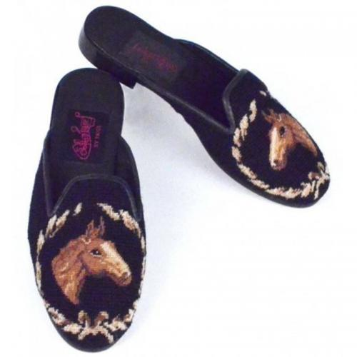 By Paige Ladies Horse Head Black Needlepoint Mules  Apparel & Accessories > Shoes > Clogs & Mules